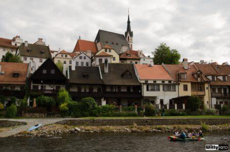 Vltava, Náplavka, kostel sv. Víta | Český Krumlov, Slavnosti pětilisté růže 2014