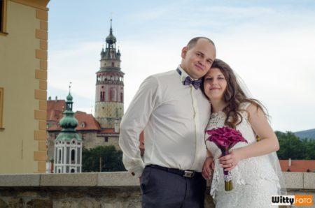 Vadim a Olesia na mostě u muzea | Český Krumlov